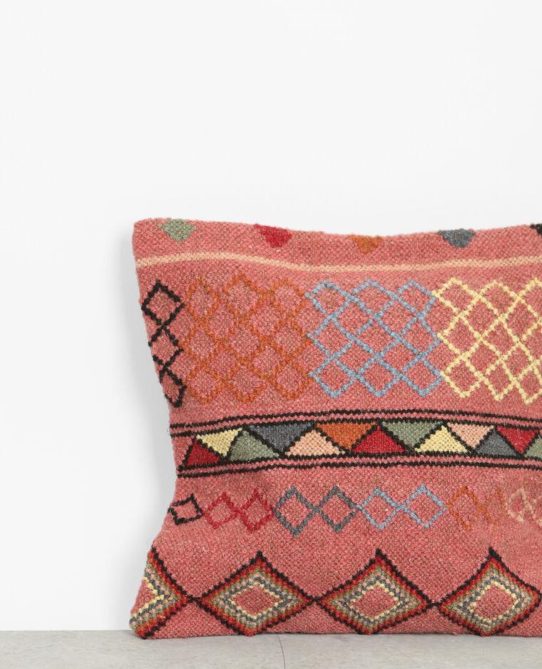 Housse de coussin en toile de jute esprit kilim rouge