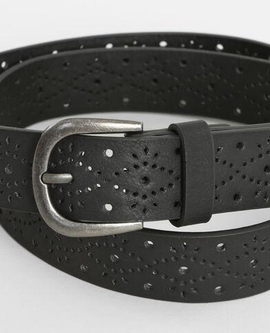 Cinturón perforado negro