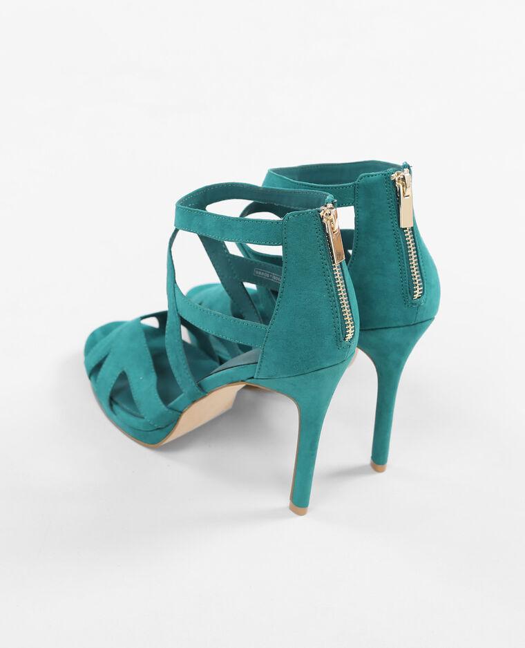 sandaletten mit absatz und ajour muster blau 988061606a0b pimkie. Black Bedroom Furniture Sets. Home Design Ideas