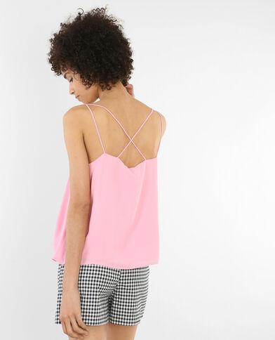 Top vaporoso espalda cruzada rosa