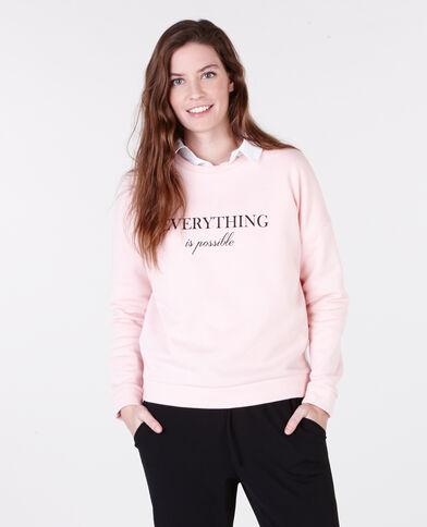Felpa con scritta rosa