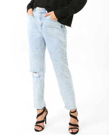Jeans mum destroy azul lavado