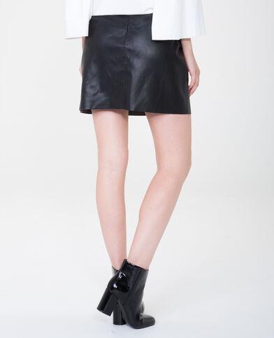 Minirock aus Kunstleder mit Volants Schwarz