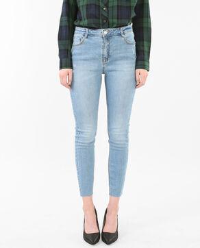 7/8-Skinny-Jeans mit Raw-Cut Blau