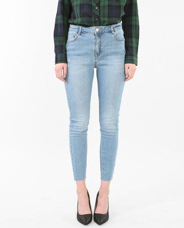 Jeans skinny tobilleros raw cut azul