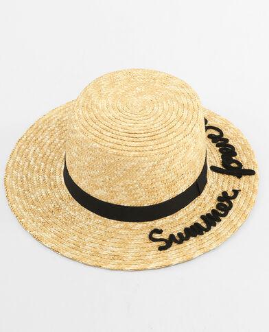 Sombrero canotier con mensaje beige cáñamo