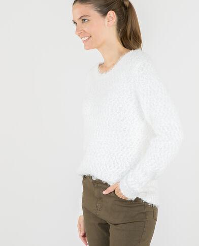 Pullover mit Popcorn-Muster Altweiß