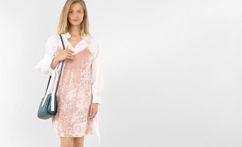 Fluwelen jurk roze