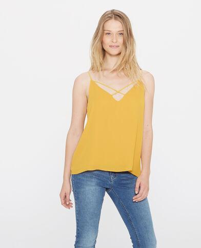 Soepel gekruist shirt mosterdgeel