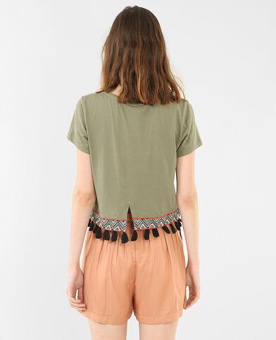 Cropped-T-Shirt mit Ethno-Motiv Khaki