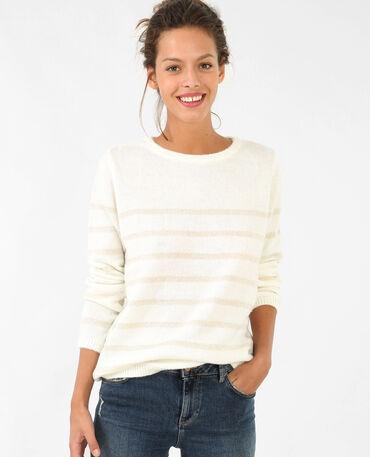 Lurex-Pullover mit Schleife Altweiß