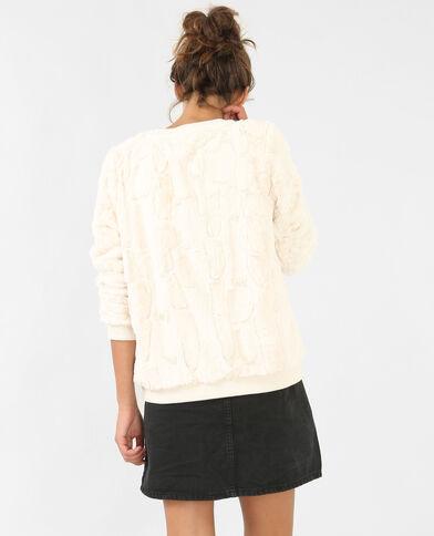 Sweater van nepbont gebroken wit