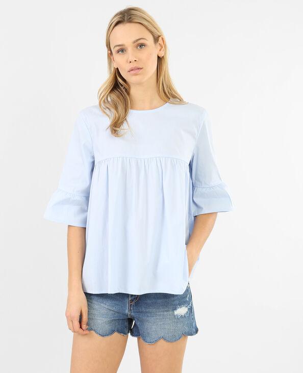 Blusa popelín evasé Bleu