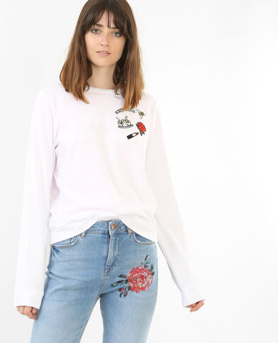 Sweater met patches wit