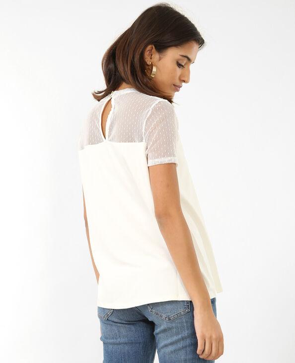 T-shirt en tulle blanc cassé