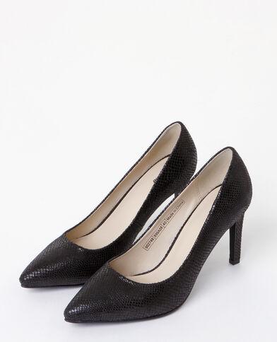 Zapatos de tacón efecto pitón negro