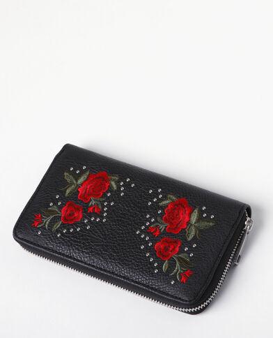 Geräumige Brieftasche mit Stickerei Schwarz