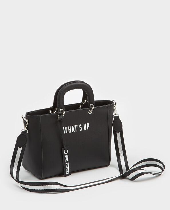 Bolso cabás pequeño con mensaje negro