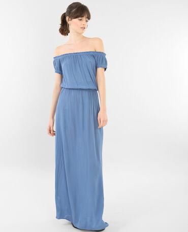 Robe longue col bardot bleu