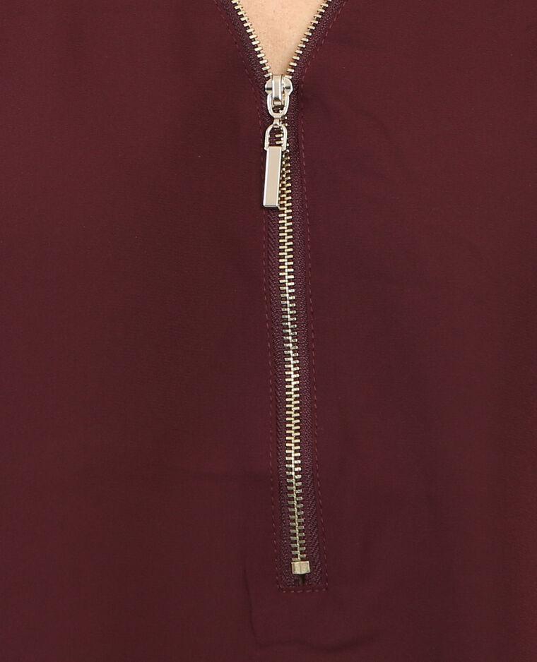 Bluse mit Reißverschluss Granatrot