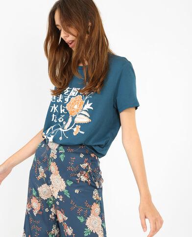 T-shirt met Aziatische prints eendenblauw