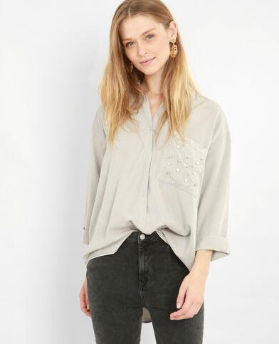 XL-Hemd mit Perlen Grau