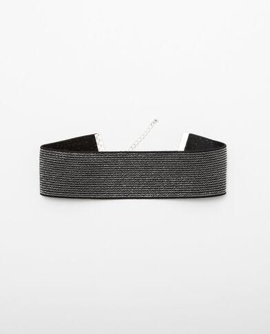 Collar choker ancho plateado gris brillante