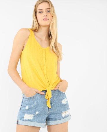 Topje met strik geel