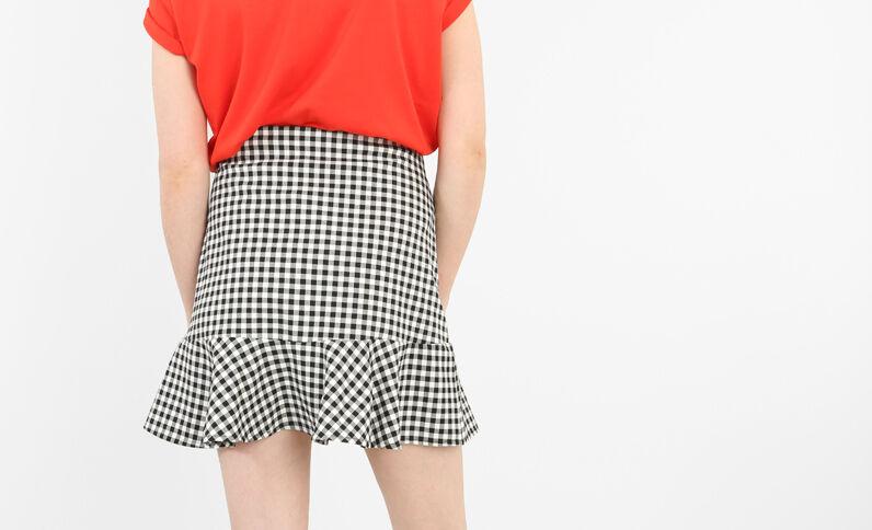 Minifalda con volantes vichy negro