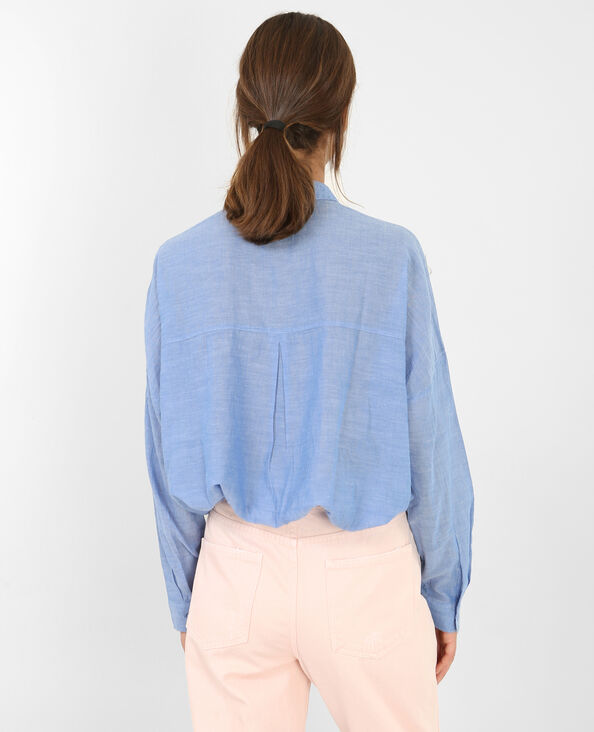 Geborduurde blouse blauw