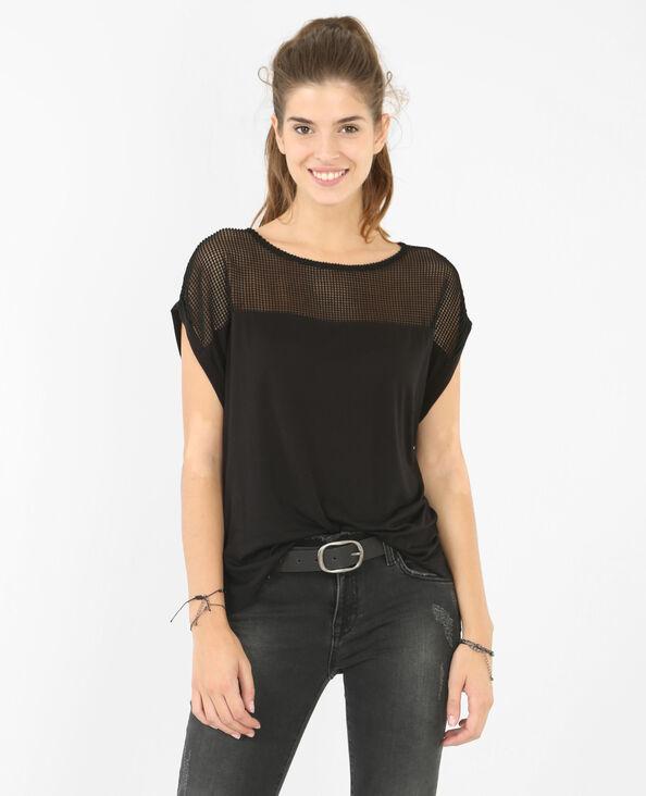 T-Shirt aus strukturiertem Material Schwarz