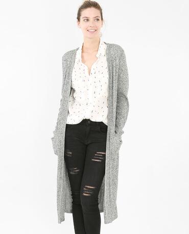 Lange Strickjacke mit feinem Rippenmuster Grau