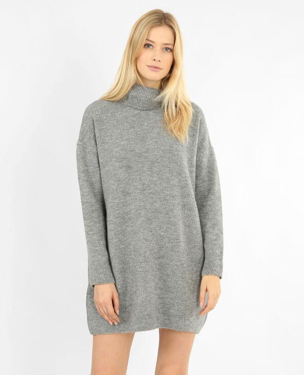 Trui-jurk met rolkraag gemêleerd grijs