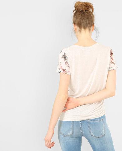 Camiseta estampada de dos tejidos marfil