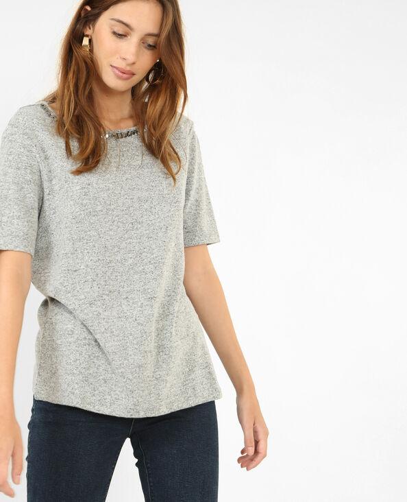 Camiseta con espalda abierta gris jaspeado