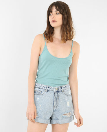 Cropped top côtelé Bleu