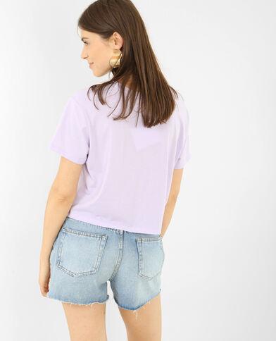 Cropped T-shirt met 3D-opschrift violet
