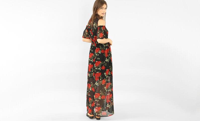 Lange jurk van bedrukte voile zwart