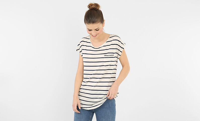 T-shirt a righe con strass bianco sporco