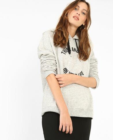 Kapuzen-Sweatshirt Perlgrau