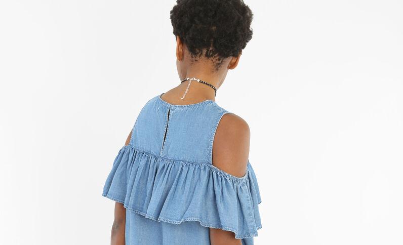Vestido volantes mangas cut out azul