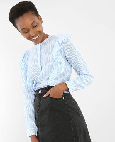 Gestreifte Bluse mit Rüschen Jeansblau