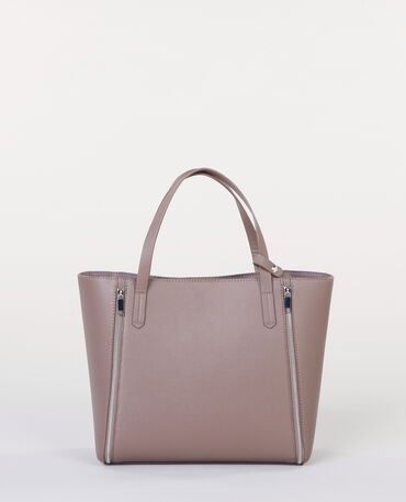 Borsa shopping con zip Beige
