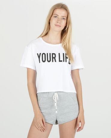 Cropped top à message blanc