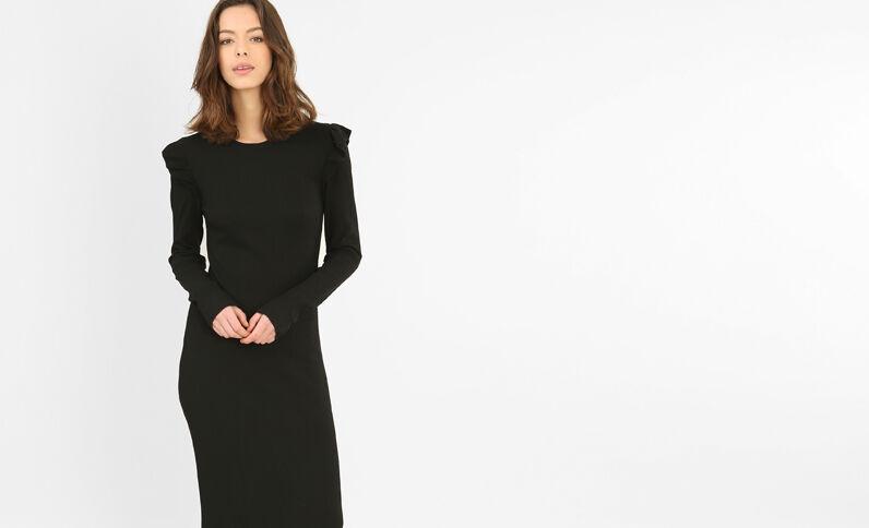 Kleid aus Rippen-Jersey mit Rüschen Schwarz