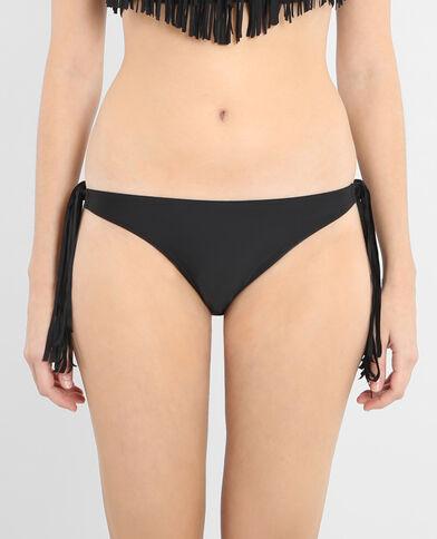 Bikinihöschen mit Bändern mit Fransen Schwarz