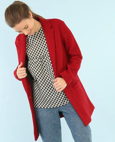 Blazer long drap de laine rouge