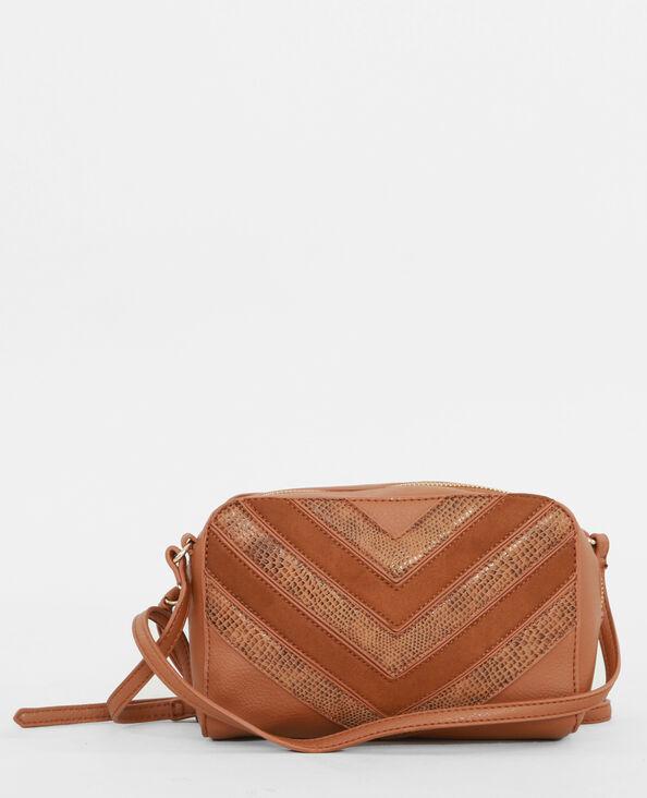 Boxy-Tasche aus Krokoleder-Imitation Orangebraun