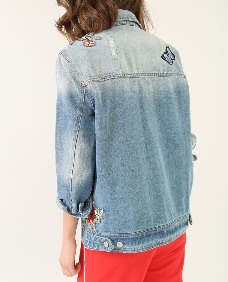 jeansjacke mit patches blau 323109681a06 pimkie. Black Bedroom Furniture Sets. Home Design Ideas