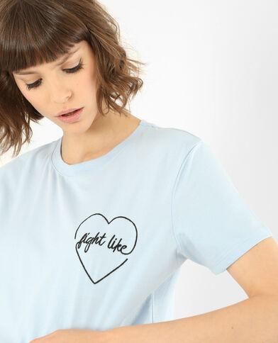 Besticktes T-Shirt Himmelblau